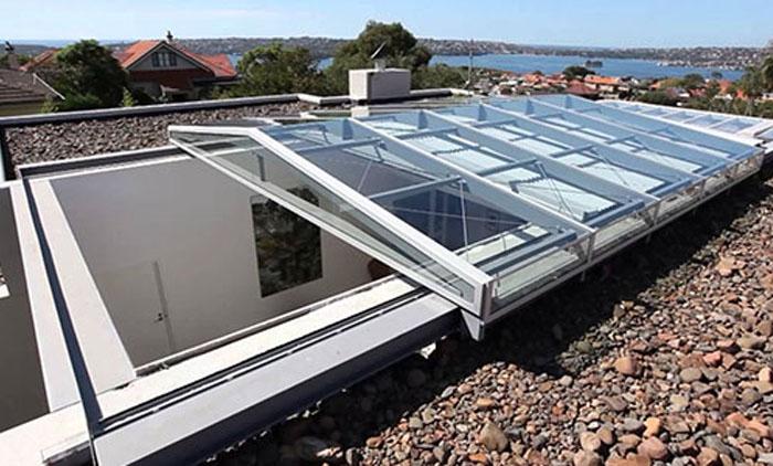 سقف برقی پاسیو شیشه ای